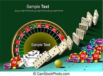 roulett tisch, und, kasino, elemente