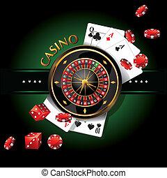 roulette, éléments, casino