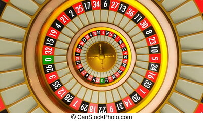 3D animation of casino roulette. Whole 360 rotation loopable.