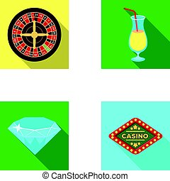 """Roulette, a glass with a drink, a diamond, a sign with the inscription """"Casino."""" Casino and gambling set collection icons in flat style vector symbol stock illustration web."""