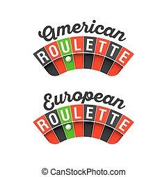 roulette, amerikaan, europeaan, tekens & borden