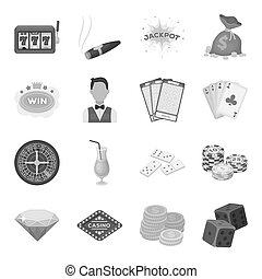 Roulette, cards, croupier, alcohol, and other attributes. Casino and gambling set collection icons in monochrome style bitmap, raster symbol stock illustration web.