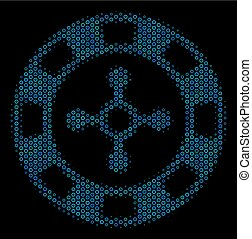 Roulette Casino Chip Collage Icon of Halftone Circles