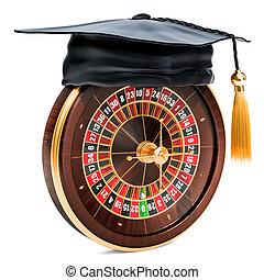 roulette, casino, remise de diplomes, rendre, cap., 3d