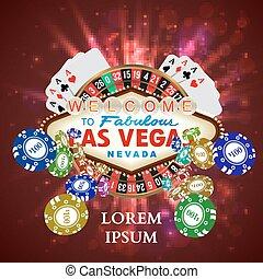 roulette, casino, speelkaarten, het vallen, frites, witn