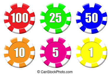 Roulette chips - Set of roulette chips isolated on white,...