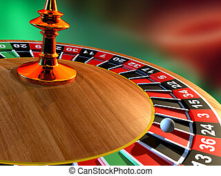 Roulette - Close up of a roulette wheel. Digital...