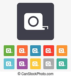 Roulette construction sign icon. Tape measure symbol. Rounded squares 11 buttons. Vector