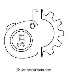 Roulette construction in gear icon. Simple illustration of roulette construction vector icon for web design isolated on white background