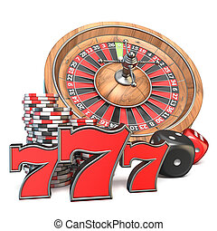 Roulette, dice, 777 and gambling chips 3D