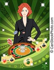 roulette, fiducioso, ragazza, fortunato, centrifugare