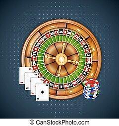 roulette, frites, kaarten