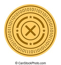 Roulette golden digital coin vector icon. gold yellow flat coin cryptocurrency symbol isolated on white. Eps 10