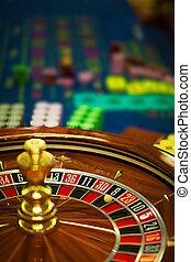 roulette, houten, wiel