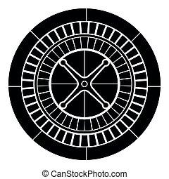 Roulette icon black color illustration flat style simple image