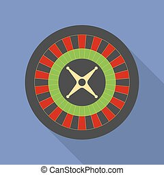 Roulette icon. Modern Flat style with a long shadow