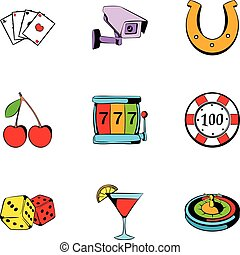Roulette icons set, cartoon style