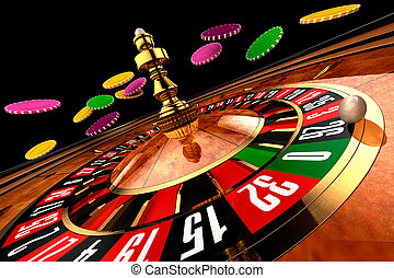 Roulette in casino chips from flying - wide shot on a black background