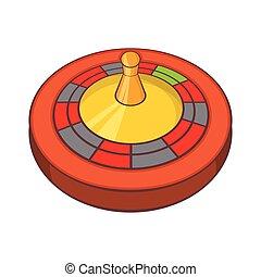 Roulette in casino icon, cartoon style
