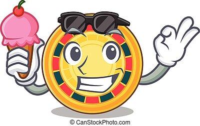 Roulette mascot cartoon design with ice cream