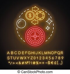 Roulette neon light concept icon. Online gambling idea. Casino, game of chance. Betting, fortune wheel. Vegas entertainment. Glowing sign with alphabet, numbers, symbols. Vector isolated illustration.