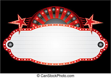 Red neon with roulette and stars for casino