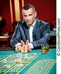 roulette, spelend, stapel, frites, gokker, palen