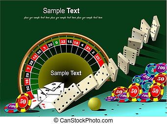 Roulette table and casino elements