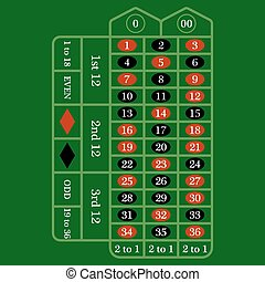 Roulette Table Icon - Roulette table icon over green...