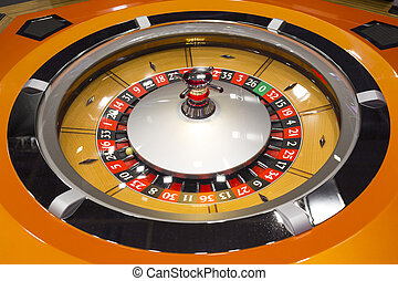 Roulette table in casino wooden