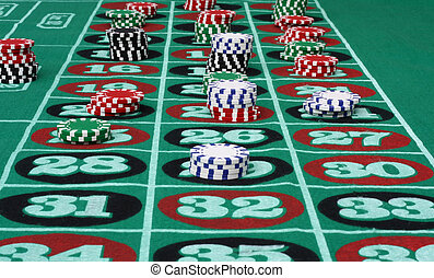 Roulette Table - Roulette table with chips.