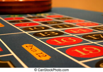 Roulette Table - This as a picture of the gaming area of a...