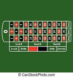 roulette table vector illustration template, flat design