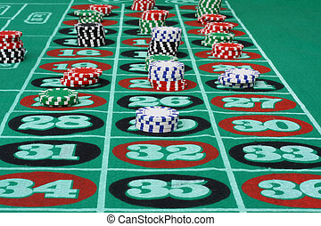Roulette Table with Chips - Roulette table loaded with...