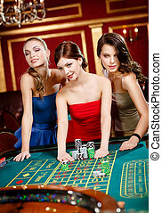 roulette, vrouwen, spelend, weddenschap, drie