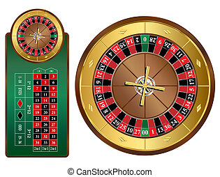 Roulette Wheel - American style roulette wheel and table...