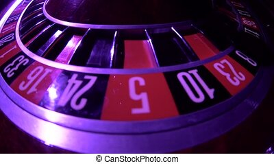 Roulette wheel loop rotation. Zero. Close up