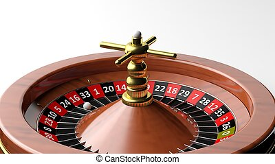 Roulette wheel on white background - Close-up of roulette...
