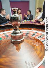 Roulette wheel spinning around