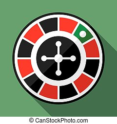 roulette wiel, casino, plat, pictogram