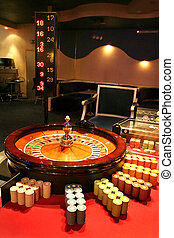 Roulette with a ball and chip in a casino