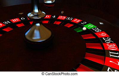 roulette with white ball on zero
