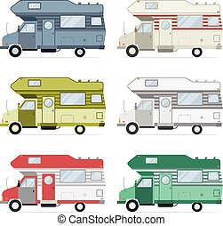 roulotte, camion, campeggio, collezione, viaggiatore