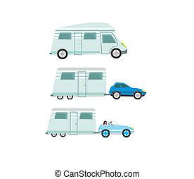 roulotte, set, isolato, campeggiatore