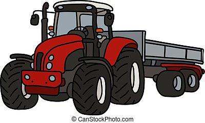 roulotte, trattore, rosso