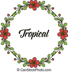 round., 夏, 花, フレーム, トロピカル, 形, ベクトル, 緑, テンプレート, 葉が多い