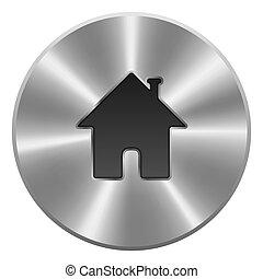 round., 金属, 隔離された, ボタン, バックグラウンド。, ベクトル, 家, icon., 白