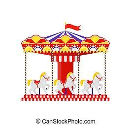 round., 陽気, 行きなさい, illustration., 回転木馬, ベクトル, horse.