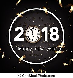 Round 2018 new year background with clock.