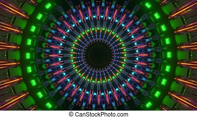 round abstract rotating neon flares tunnel vj loop fly through in 4k uhd 60fps